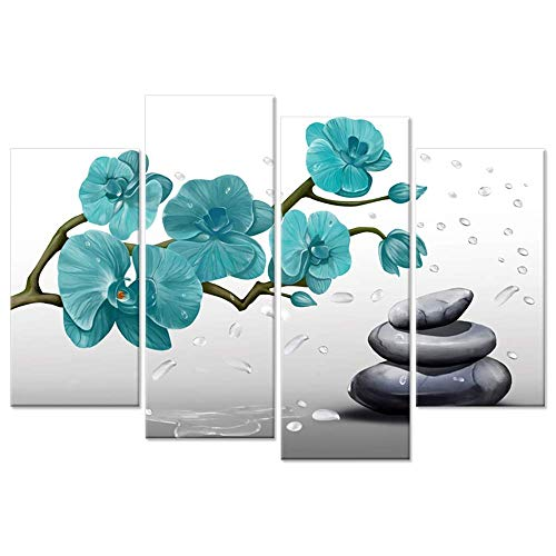 (Hello Artwork 4 Panel Butterfly Orchid Canvas Print Wall Art Teal Blue Flower with Drop of Water Zen Stones Spa Still of Life Picture Print On Canvas for Living Room Decor Stretched Ready to Hang)
