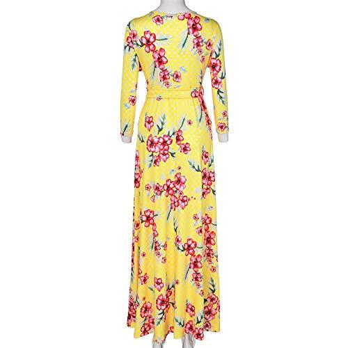 Ajustable Largo Embarazada Elegante Maxi Envoltura Mujer Targogo Damas Vestidos De Embarazo Amarillo Maternidad Estampado Flores Vestido Multifunción OI7qw