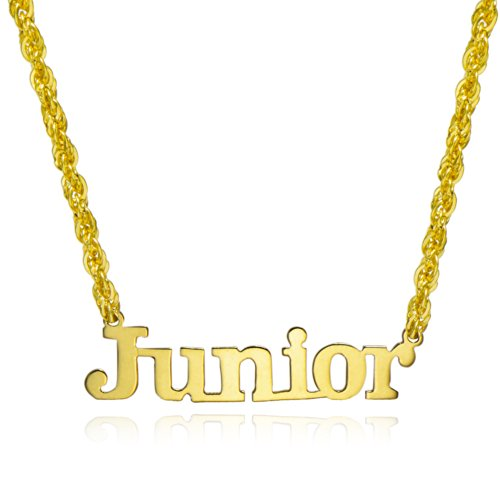 14K Yellow Gold Personalized Name Necklace - Style 13 (18 Inches, Rope Chain) by Pyramid Jewelry