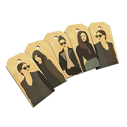 (French Fashion Girls Pop Art Graphic Gift Tags Birthday Wooden Wood Gift Tag Set)