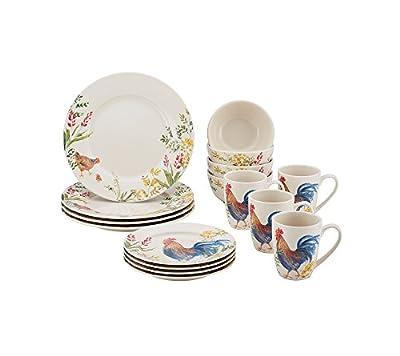 Paula Deen Garden Rooster 16-pc Stoneware Dinnerware Set