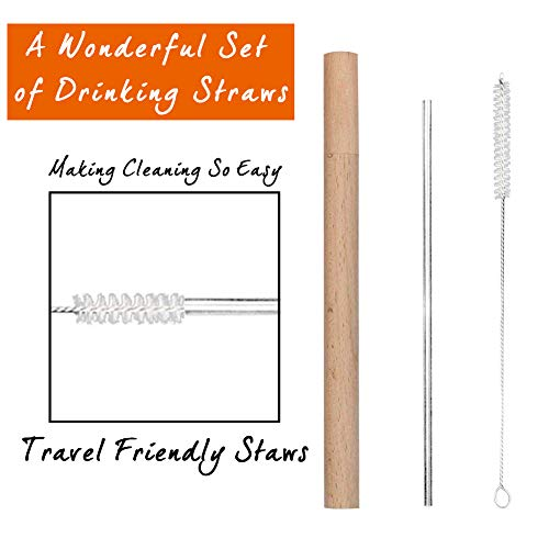 (WOAWL Reusable Metal Straws For Drinks With Outdoor Wooden Case Set include 4 straight Stainless steel Straws+2 Travel Cases made of logs can be reused+2 Cleaning Brushes,8.5 inch)