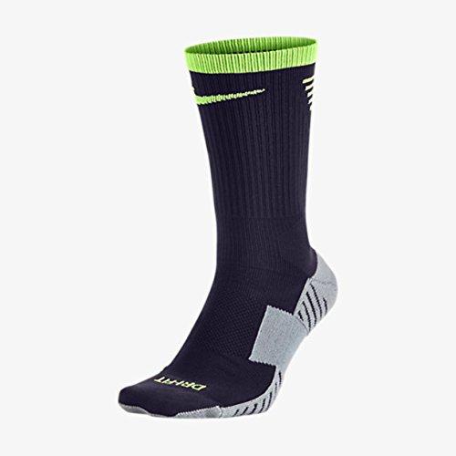 NIKE STADIUM SOCCER CREW (Purple Dynasty/Ghost Green/Ghost Green, LG (Mens Shoe 8-12)) (Nike Elite Soccer Socks Green)