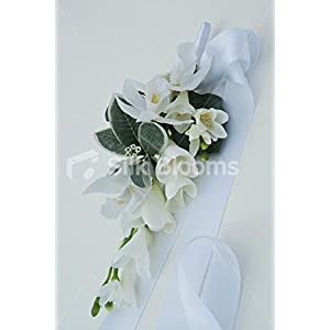 Silk Blooms Ltd Lovely Pure White Wedding Freesia & Orchid Pew End