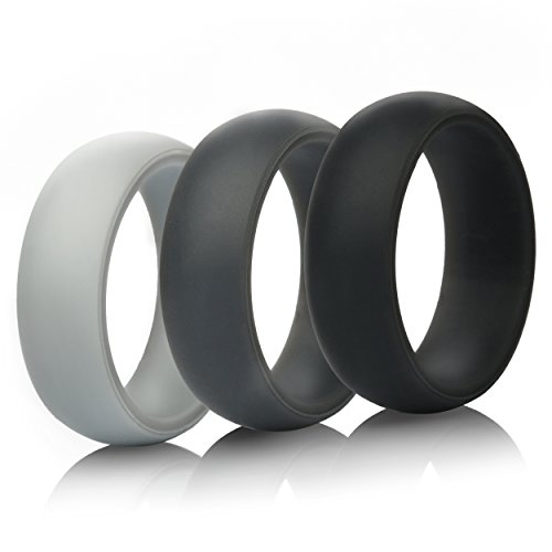 Gift-Silicone Wedding Ring Wedding Band - 3 Rings Pack - 8.7mm Wide (2mm Thick) - Black, Gray, Light Gray ()