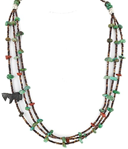 CARVED FETISH $400 Retail Tag Authentic 3 Strand Horse Made by Charlene Little Navajo Silver Natural Turquoise Jasper Jet Native American Necklace