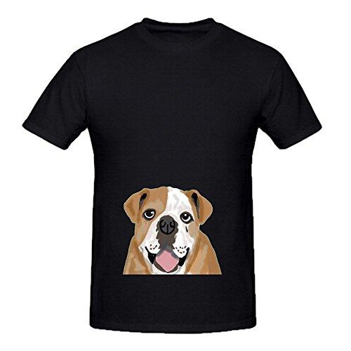 Roscoe English Bulldog Dog Mens Crew Neck Slim Fit Shirts Black