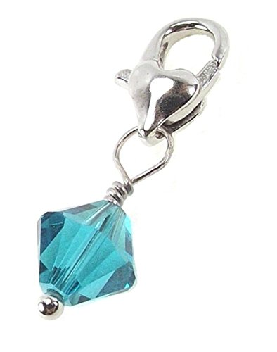 Clip On Birthstone Dangle Charm Pendant Made With Swarovski Crystals and Silvertone Heart Lobster Clasp (12. December - Blue (Swarovski Crystal Heart Charm)
