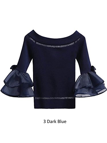 Simplee Apparel Women 's Stripe Knit Ruffle Off Shoulder Top Shirt jersey de manga larga Azul