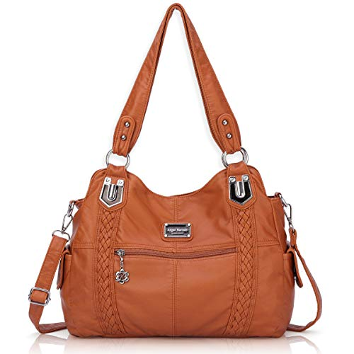 Angel Barcelo Roomy Fashion Hobo Womens Handbags Ladies Purse Satchel Shoulder Bags Tote Washed Leather Bag Brown