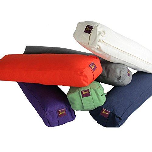 Pranayama (breathe) Yoga Bolster (Iyengar Bolster, Knee Saver), Natural Cotton Filled with Sturdy Canvas Cover by Yogavni (TM) (Gray)