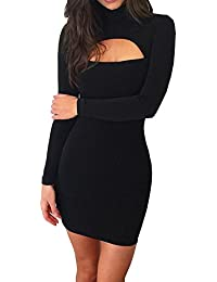 Women's Long Sleeve Cut Out Front Sexy Club Bodycon Dress Party Mini Bandage Dress