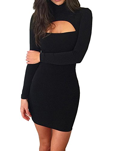 Haola Women's Long Sleeve Cut Out Front Sexy Club Bodycon Dress Party Mini Bandage Dress L Black