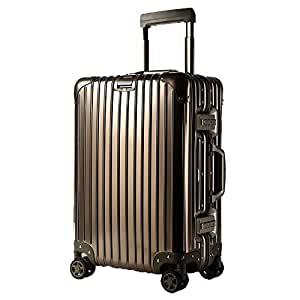 GLJJQMY Trolley Case Aluminum Trolley Case Aluminum Suitcase Universal Wheel Aluminum Frame Suitcase Trolley case (Color : Titanium Gold, Size : 24 inches)