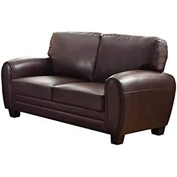 Homelegance 9734DB-2 Upholstered Loveseat, Dark Brown Bonded Leather Match