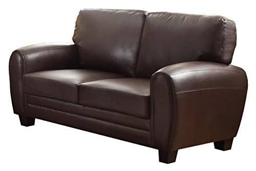 Homelegance 9734DB-2 Upholstered Loveseat, Dark Brown Bonded Leather Match - Collection Brown Leather Loveseat