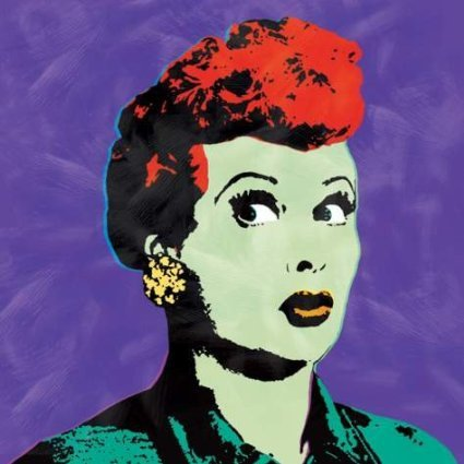 I Love Lucy Andy Warhol Style Pop Art Turquoise Canvas Wall Painting [Kitchen] H12 x W12