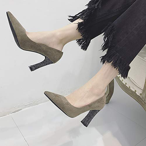 Heels Temperament High Mouth Shoes Wild Pointed heels Thick Single Shoes Shoes Grey Yukun Shiny Shallow qxTAwnRRC