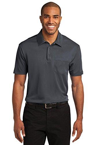 Grey Silk Shirt (Port Authority Men's Silk Touch Performance Pocket Polo L Steel Grey)