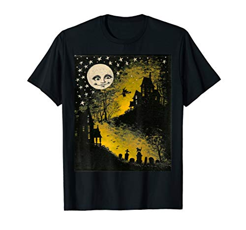 Sweet n' Spooky Vintage Style Halloween Moon, Witch T- Shirt]()