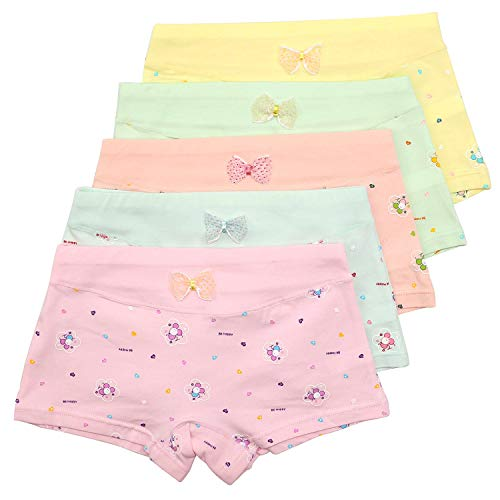 BOOPH Girls Underwear Toddler Little Hipster Boyshort Kids Briefs Cotton Panties 5 Pack
