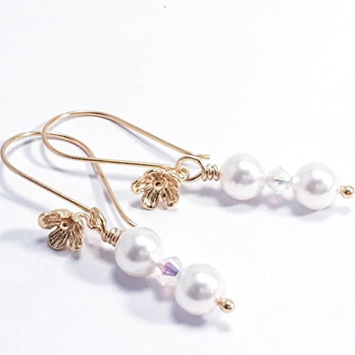 Crystal and White Simulated Pearl 14k Gold Vermeil Cherry Blossom Earrings