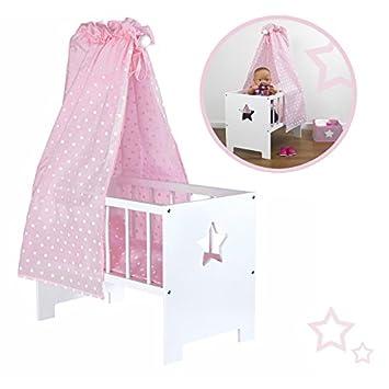 Möbel Puppenbett aus Holz weiß Bett für Puppen Holzbett NEU