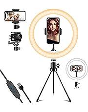 Deerfun Led-ringlamp met statief en mobiele telefoonhouder 10,2 inch, selfie-ringlicht met 3 verlichtingsmodi en 10 helderheidsniveaus voor YouTube-video-opnames, selfie, live stream, make-up en fotografie