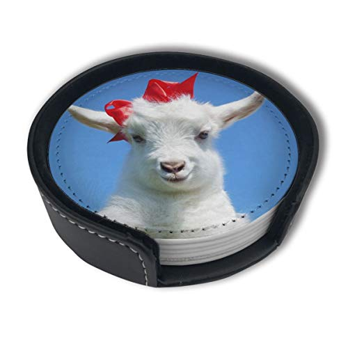Baby Goat Leather - UJNB-Home Animals Baby Goat PU Leather Coaster Set For Mugs And Cups 6pc