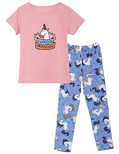 (Big Girls Cute Unicorn Pajama - Short Sleeve & Pants Set Tweens/Teens PJS Sleepwear Kids Size)