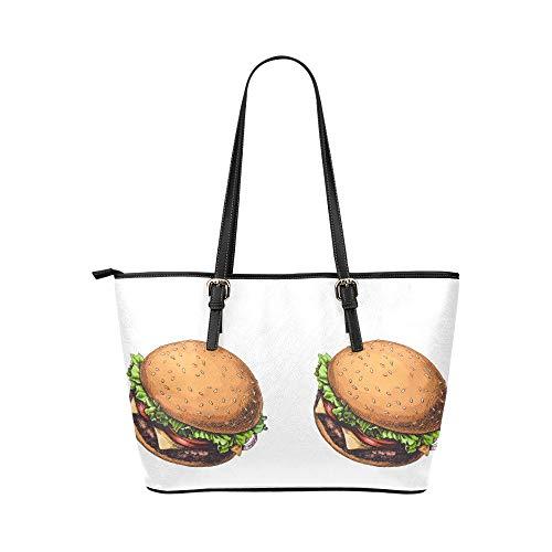 Handväska axelväskor konst söt läcker mat hamburgare cola läder handväskor väska orsaksala handväskor dragkedja axel organiserare för dam flickor kvinnor handväskor hållare