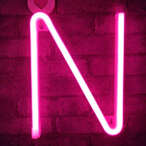 Neon Sign Letters Light Up Bar Word Sign USB Batteries Operated Marquee Letter Sign Art Wall Decor for Kids Living Room,Bar,Pub, Home,Wedding(Pink Letter) (For Words Art Wall)