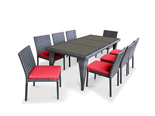 UrbanFurnishing.net - 9 Piece Wicker Outdoor Patio Dining Set - Gray Wicker / Coral Red