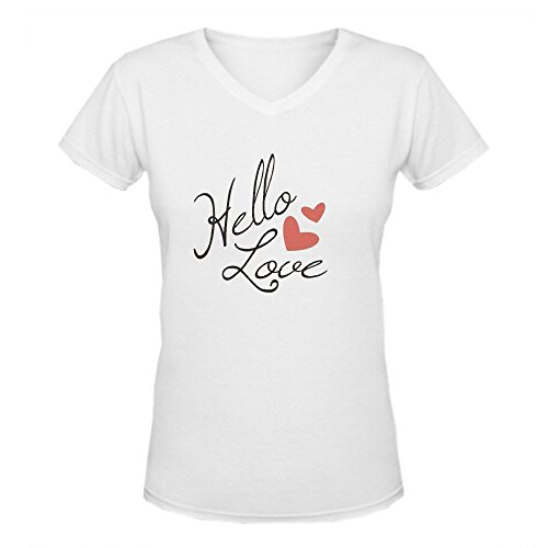 Bunny Angle Hello Love Typography Classic Women V-Neck T Shirts White