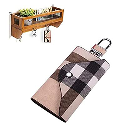 Linsam PU Leather Plaid Key Car Wallets Car Keychain Key Holder Bag Key Purse Pouch