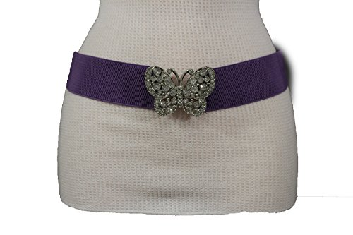 TFJ Women Elastic Fashion Belt Hip Waist Silver Metal Butterfly Buckle S M (Butterfly Purple Belt Buckle)