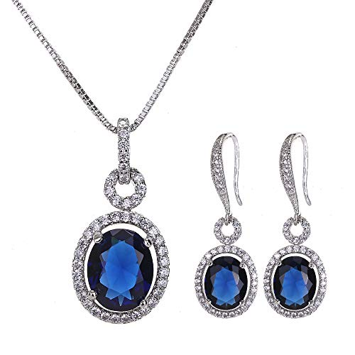 Womens Crystal Sapphire Jewelry Set - 14k White Gold Plated Elegant Bridal Wedding CZ Cubic Zirconia Jewelry Set for Bridesmaids September Birthstone Earrings and Pendant Necklace Set Birthday Gifts