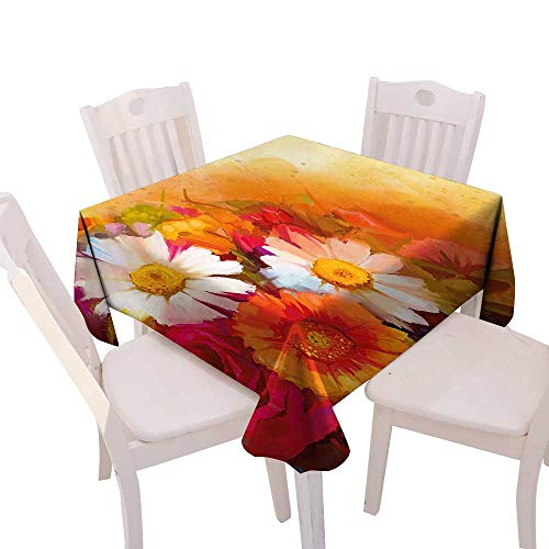 Daisy Gerbera Balloons (Cheery-Home Square Table Cloth Foot Table in Washable Polyester Suitable All Occasions,(W60 x L60) Floral Vivid Flower Bouquet Roses Daisy Gerbera Blossoms Flourishing Artwork Orange Magenta White.)