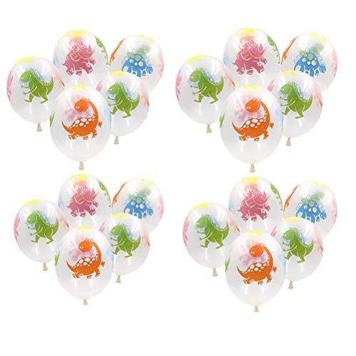 SUSHAFEN 20Pcs Dinosaur Transparent Balloons Printed Dinosaur Latex Balloons Kids Birthday Party Decoration Dinosaur Theme Party Decoration ()