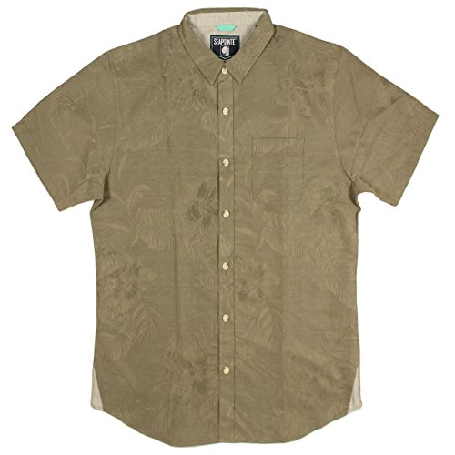Seapointe Men's Button Down Hawaiian Shirt (Cocoa Jacquard, Large)