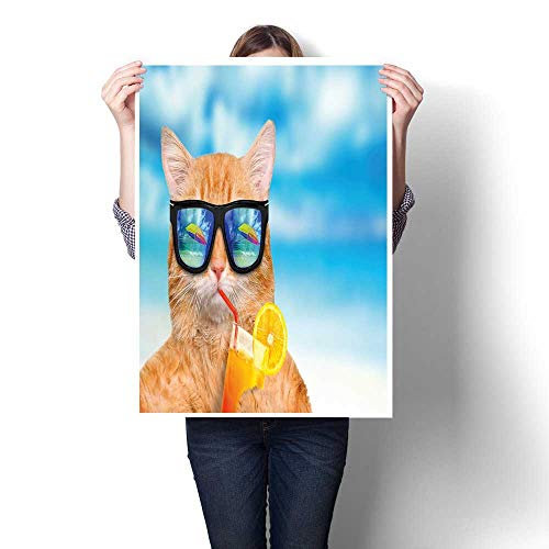 (J Chief Sky Funny Wall hangings Cat Wearing Sunglasses Relaxing Cocktail in The Sea Background Summer Kitty Image Digitally Printed 32