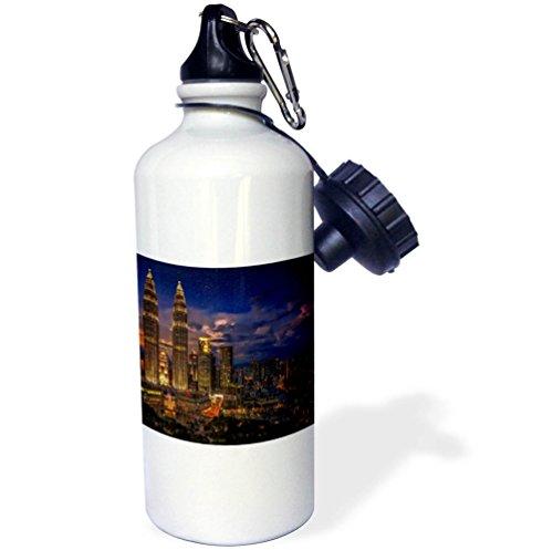 3dRose Cities Of The World - Petronas Twin Towers In Kuala Lumpur, Malaysia - 21 oz Sports Water Bottle (Lumpur Tower)