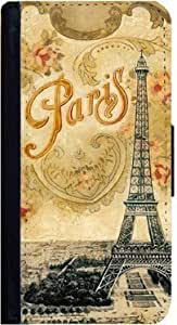 Eiffel Tower Vintage Postcard Paris iPhone 5C Flip Case, iPhone 5C Flap Cover, Pocket Case, Wallet Cover, Book Style Case, Bi-Fold Cover, by Sublifascination 179 DOES NOT FIT THE IPHONE 5/5s