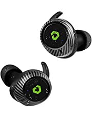 Wireless Earbuds, DESTEK T1 45H Longtime Playing Deep Bass Bluetooth Earbuds, Real IPX7 Waterproof Bluetooth 5.0 Noise Cancelling Hi-Fi Sound, Wireless Charging Case, Carbon Fiber Appearance for Sport