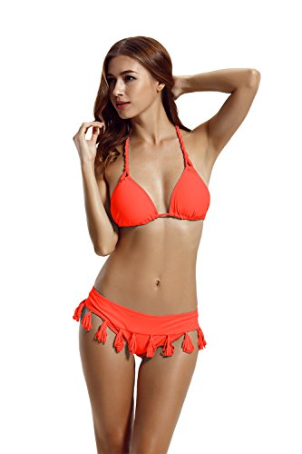 zeraca Women's Cheeky Tassel Bottom Triangle Bikini Bathing Suits (L14, Coral Braze)