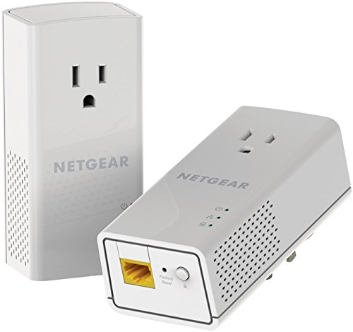 NETGEAR PowerLINE 1000 Mbps, 1 Gigabit Port with Pass-Through, Extra Outlet (PLP1000-100PAS)