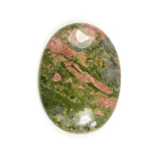 2 x Green/Orange Unakite 13 x 18mm Oval-Shaped Flat-Backed Cabochon - (CA16660-4) - Charming (Unakite Green)
