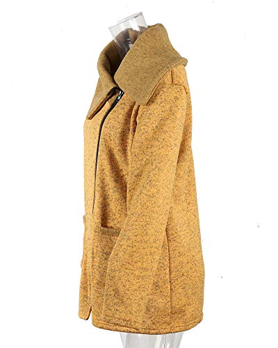 Donna Yonglan Giallo Felpa Cappotto Giacche Giacca Maglione Cerniera Obliqua Lungo Risvolto d7pvxqrwn7
