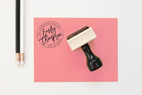 Round Return Address Stamp Personalized Circle Address Label Wedding Invitation Stamp Bridesmaid Gifts New Home Wooden Stamp Office Supplies