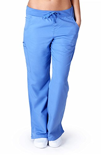 Ultra Soft Scrubs - Womens Flare Cargo Scrub Pant, Ceil Blue 38804-X-Small ()